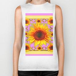 Pink & Yellow Sunflower Pattern Art Biker Tank