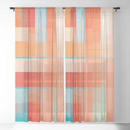 Orange Turquoise Summer Abstract Design Sheer Curtain