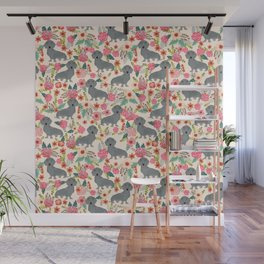 Dachshund florals grey doxie dachsie pattern with flowers cute gifts for wiener dog owners Wall Mural