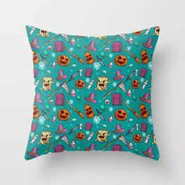 spooky cartoon halloween Throw Pillow