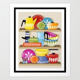 Cathrineholm Pottery Displayed On Kitchen Shelves Print Art Print