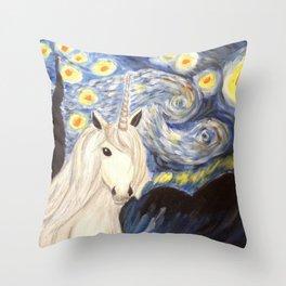 Starry Night Unicorn Throw Pillow