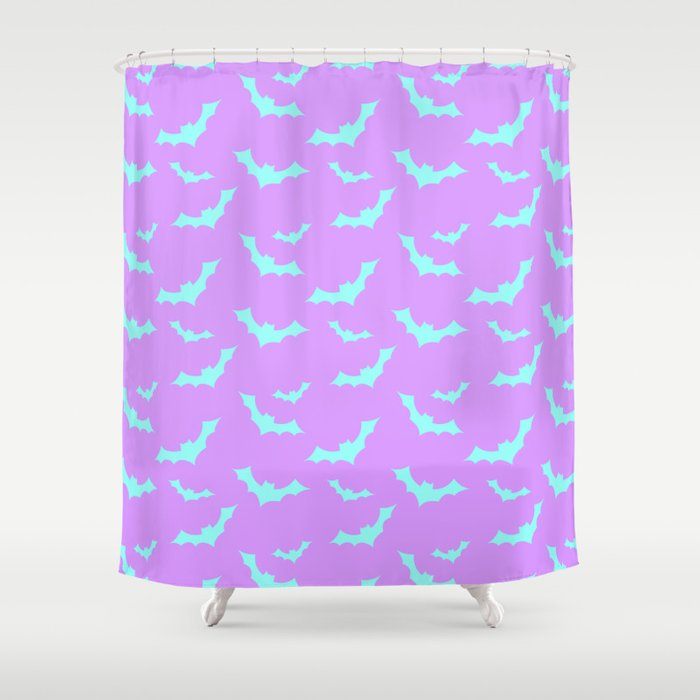 Blue Bat Pattern On Purple Shower Curtain