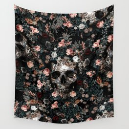 Skull and Floral pattern Wall Tapestry
