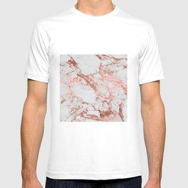 Stylish white marble rose gold glitter texture image T-shirt