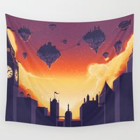 cities Wall Tapestries featuring Cities in the Sky by Souzou Inc
