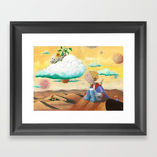 Little Prince with sunflower Framed Art Print