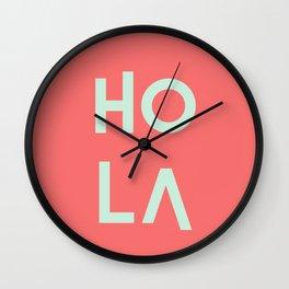 HolA living coral pantone & mint Wall Clock
