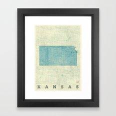 Kansas State Map Blue Vintage Framed Art Print
