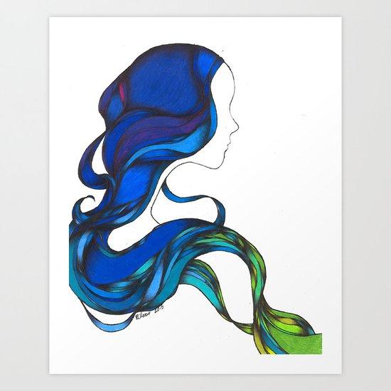 Hair Like the Sea Art Print