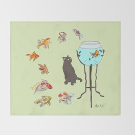 Cat and Goldfish Bowl Throw Blanket