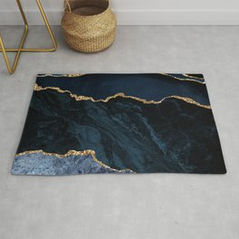 Navy Blue Gold Agate Geode Stone Jewel Pattern Rug