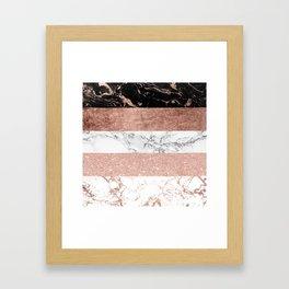 Modern chic color block rose gold marble stripes pattern Framed Art Print
