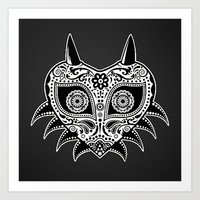 majoras mask Art Prints featuring Sugarskull / Majoras mask / black'n'white by tshirtsz