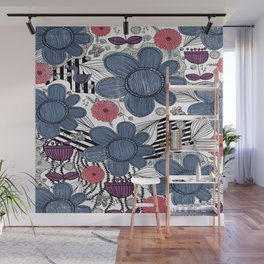 Whimsical Floral Pattern Wall Mural