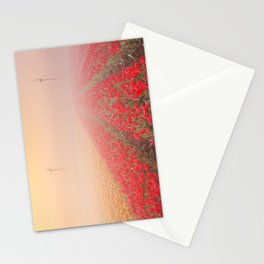 III - Sunrise and fog over rows of blooming tulips, The Netherlands Stationery Cards