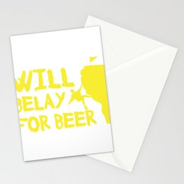 Will Belay For Beer Funny Rock Climbing Stationery Cards