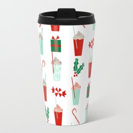 Minimal christmas peppermint latte christmas coffee cafe kitchen foodie pattern print mistletoe Travel Mug