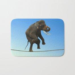 Elephant Walking on wire Bath Mat