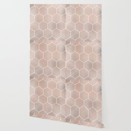 Rose gold foil honeycomb geometric Wallpaper