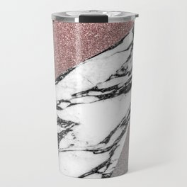 Silver Rose Gold Glitter and Marble Geometric Pattern Travel Mug