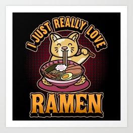 Funny Anime Ramen Cats Life Saying Gift Art Print