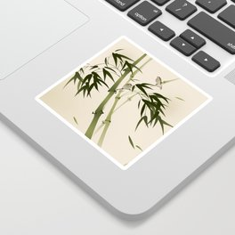 Oriental style painting, bamboo branches Sticker