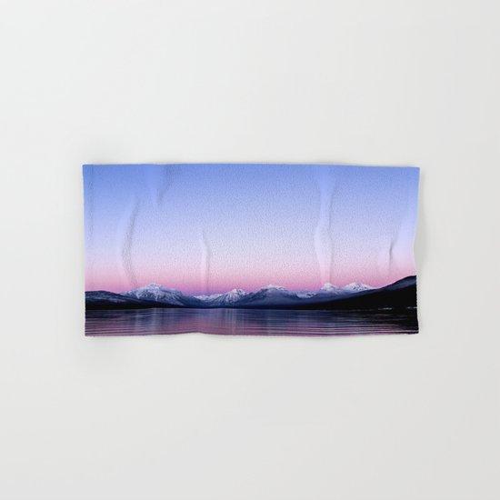 pastel mountain lake sunset Hand & Bath Towel