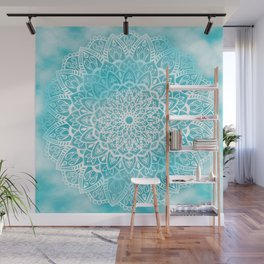 Blue Sky Mandala in Turquoise Blue and White Wall Mural