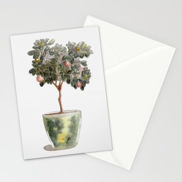 Potted Orange Tree Watercolor Stationery Cards