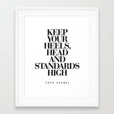 Keep Your Heels High Black and White Inspirational Typography Quote Grl Pwr Girls Bedroom Poster Framed Art Print