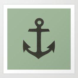 Green Anchor Art Print
