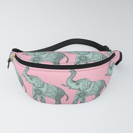Elephant doodle in mint and pink. Fanny Pack