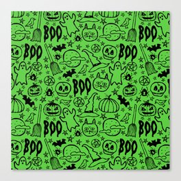 Spooky Pattern - Lime Green Canvas Print