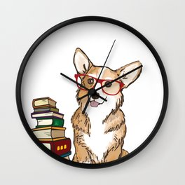 Corgi for book lovers, book nerds, readers, or english teachers Wall Clock