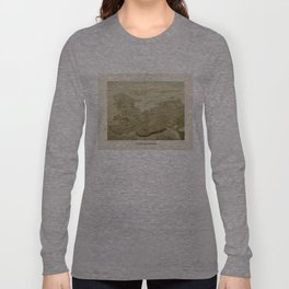 Vintage Pictorial Map of Newport RI (1878) Long Sleeve T-shirt