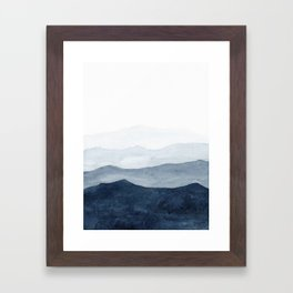 Indigo Abstract Watercolor Mountains Framed Art Print