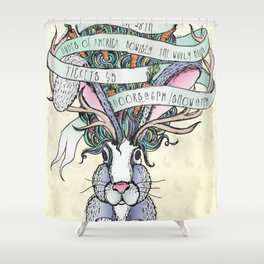 Paper Jam '15 by Maisie Cross Shower Curtain