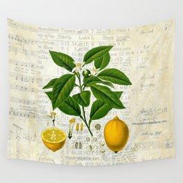 Lemon Botanical print on antique almanac collage Wall Tapestry