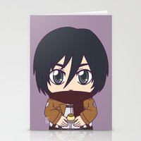shingeki no kyojin Stationery Cards featuring Shingeki no Kyojin - Chibi Mikasa Flats by Tenki Incorporated