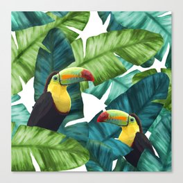 Toucans Tropical Banana Leaves Pattern Canvas Print