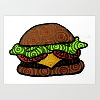 hamburger Art Prints featuring Hamburger by nsvtwork