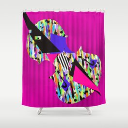 Cello Abstraction on Hot Pink Shower Curtain