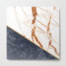 Classy Elegant White Blue Gold Marble Metal Print