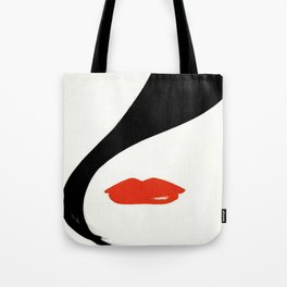 Retro Fashion Model with Stylish Hair and Red Lipstick Tote Bag