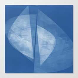 Mid Century Modern Blue and White Geometric Square Format Abstract Canvas Print