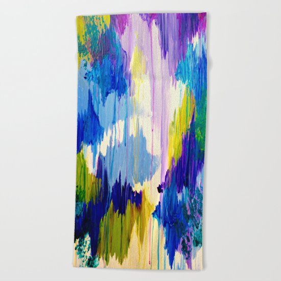 WINTER DREAMING - Jewel Tone Colorful Eggplant Plum Periwinkle Purple Chevron Ikat Abstract Painting Beach Towel