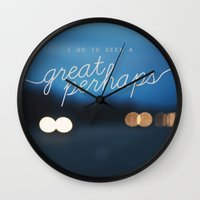 looking for alaska Wall Clocks featuring looking for alaska - great perhaps. by lissalaine