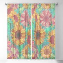 Sunflower Garden Sheer Curtain