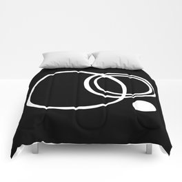 Black and White Circles Abstract Modern Comforters